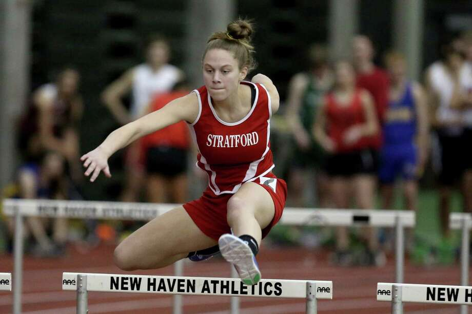 Stratford High School's Rachel Santos clears a hurdle during the 55 meter hurdles event at Saturday's SWC Track Championships held at the Floyd Litttle Athletic Center in New Haven. Photo: Mike Ross / Mike Ross Connecticut Post freelance -www.mikerossphoto.com
