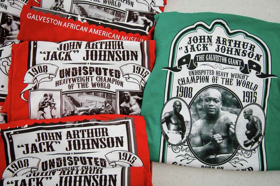 Shirts lay on a table during the dedication ceremony of a historical marker honoring Jack Johnson, the first black world heavyweight champion, at Jack Johnson Park, Saturday, Feb. 1, 2014, in Galveston. Photo: Michael Paulsen, Houston Chronicle / © 2014 Houston Chronicle