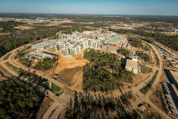 The new Exxon Mobil corporate campus under construction near The Woodlands is seen on Thursday, May 23, 2013.  The new development is near Interstate 45 and the Hardy Toll Road. In total, the complex will house 10,000 people when it opens in 2015.