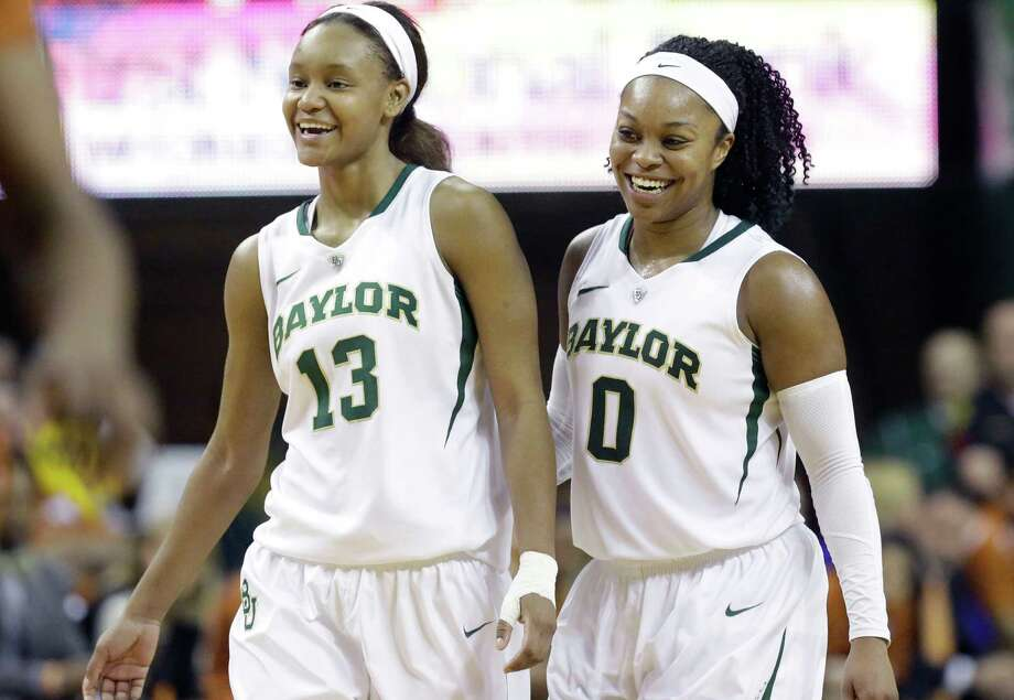 Baylor's Nina Davis (13) and Odyssey Sims (0) were double trouble for Texas in the No. 9 Lady Bears' 87-73 victory at Waco on Saturday night. Photo: LM Otero, STF / AP