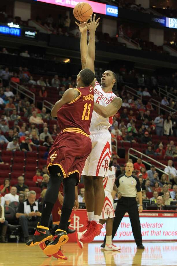 Feb. 1: Rockets 106, Cavaliers 92  Cavaliers power forward Tristan Thompson (13) attempts to block Rockets power forward Terrence Jones. Photo: Mayra Beltran, Houston Chronicle