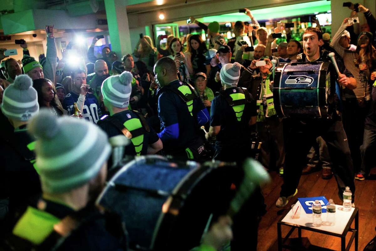 Blue Thunder enters Copacabana to play an impromptu set for Seahawks fans to celebrate the day before Super Bowl XLVIII Saturday, Feb. 1, 2014, in New York City.