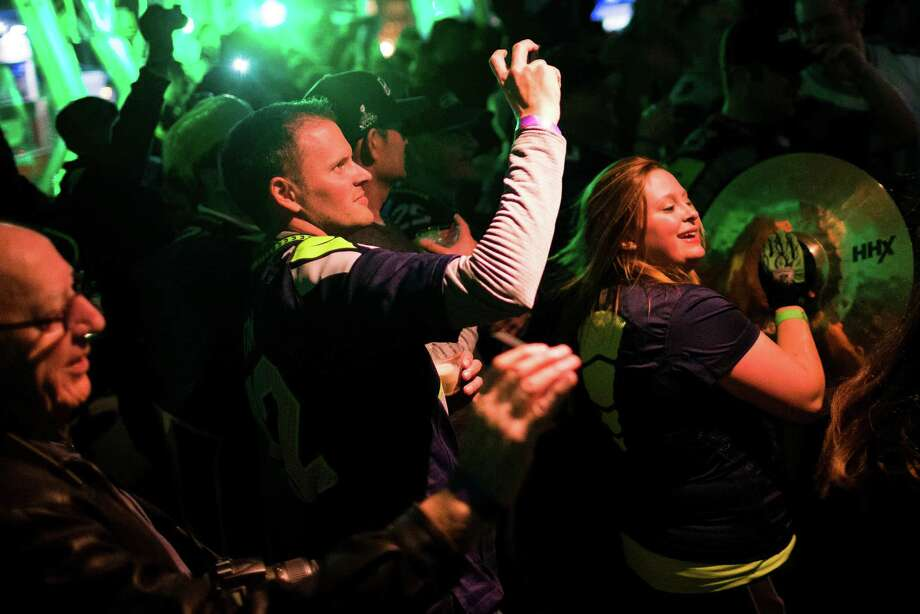 Blue Thunder enters Copacabana to play an impromptu set for Seahawks fans to celebrate the day before Super Bowl XLVIII Saturday, Feb. 1, 2014, in New York City. Photo: JORDAN STEAD, SEATTLEPI.COM / SEATTLEPI.COM
