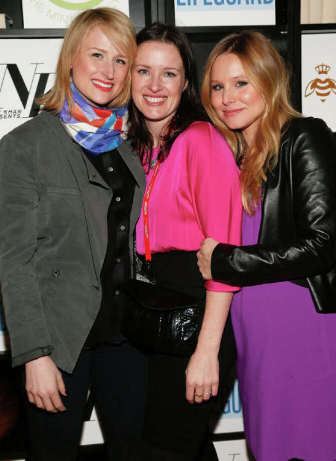 "Liz Garcia, center, grew up in Ridgefield and wrote the screenplay for ""The Lifeguard,"" which she also directed. She's seen here with two of the dramedy's stars. At left is Mamie Gummer (Meryl Streep's daughter). At right is actress Kristen Bell. Photo: Contributed Photo / The News-Times Contributed"