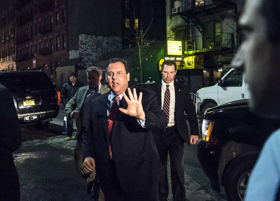 Chris Christie arrives at a birthday party for radio host Howard Stern in New York on Friday. Photo: Robert Stolarik, New York Times