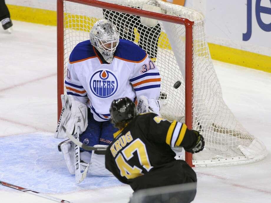 Feb 1, 2014; Boston, MA, USA; Boston Bruins defenseman Torey Krug (47) scores a goal past Edmonton Oilers goalie Ben Scrivens (30) during the third period at TD Banknorth Garden. Mandatory Credit: Bob DeChiara-USA TODAY Sports Photo: Bob DeChiara, Reuters