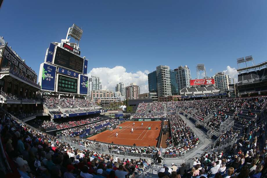 The Petco Park crowd watches the doubles competition of the U.S.-Britain Davis Cup match at a stadium within the stadium: a temporary facility set up with the court near the left-field wall. Photo: Clive Brunskill, Getty Images