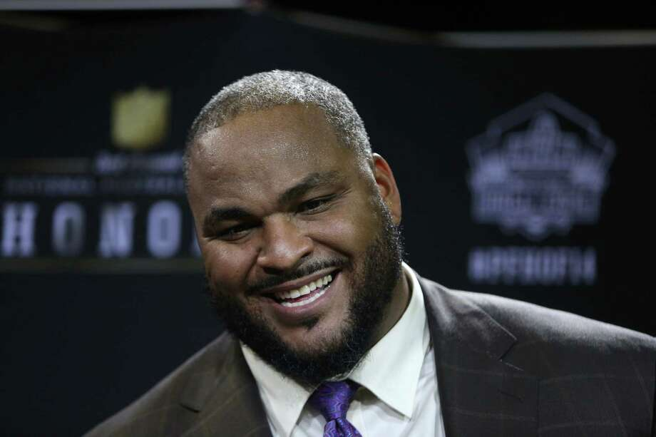 Former Seattle Seahawks player Walter Jones speaks to reporters after he was elected to the NFL Hall of Fame during the NFL Honors ceremony on Saturday, February 1, 2014 at Radio City Music Hall in New York City. Photo: JOSHUA TRUJILLO, SEATTLEPI.COM / SEATTLEPI.COM
