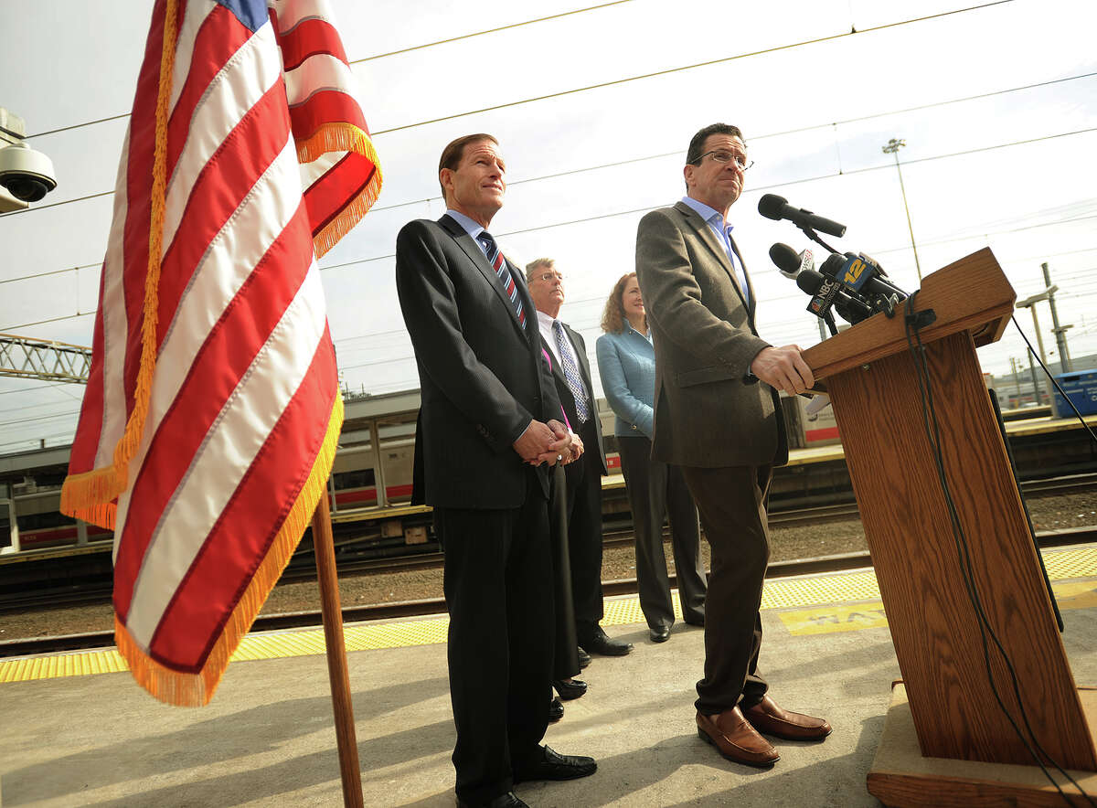 Governor Dannel P. Malloy, right, fields questions following his announcement of upgrades to Metro-North's New Haven Line, at Union Station in New Haven, Conn. on Sunday, February 2, 2014. With Malloy from left are Senator Richard Blumenthal, Lt. Governor Nancy Wyman, not pictured, Transportation Commissioner James P. Redeker, and 5th District Congresswoman Elizabeth Esty.