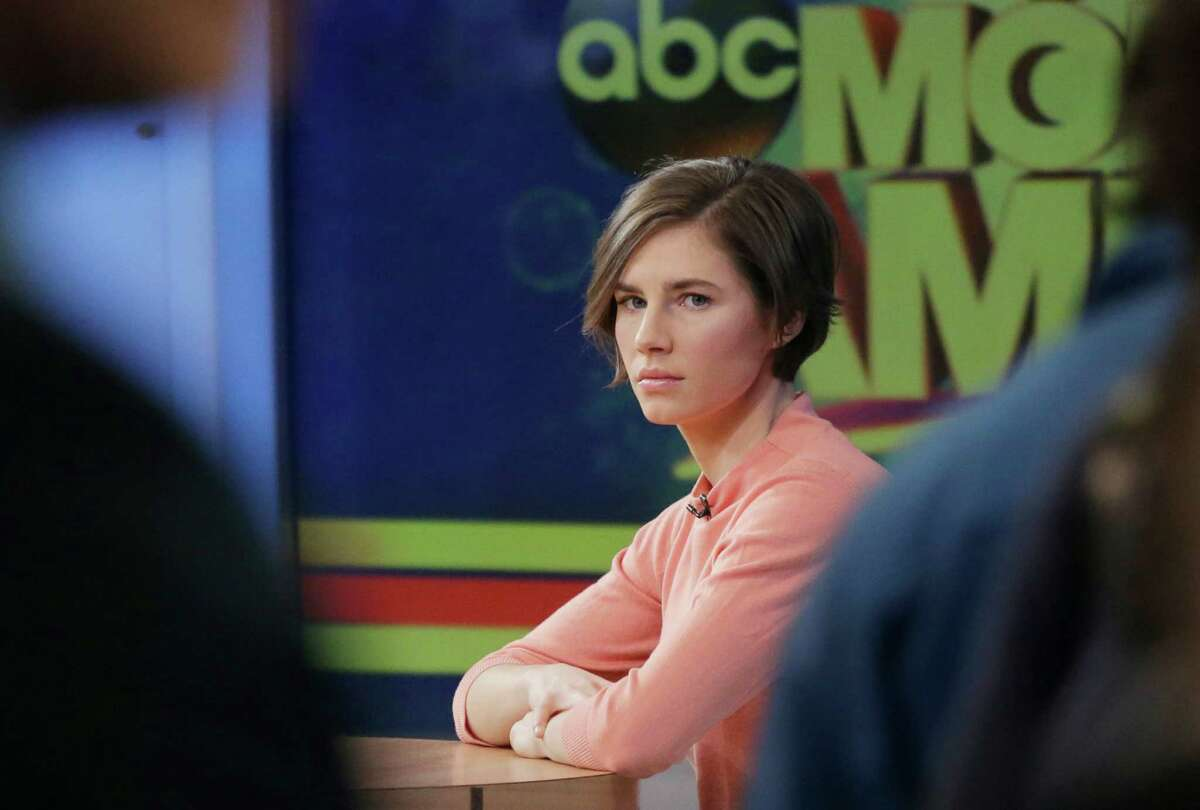Amanda Knox waits on a television set for an interview, Friday, Jan. 31, 2014 in New York. Knox said she will fight the reinstated guilty verdict against her and an ex-boyfriend in the 2007 slaying of a British roommate in Italy and vowed to
