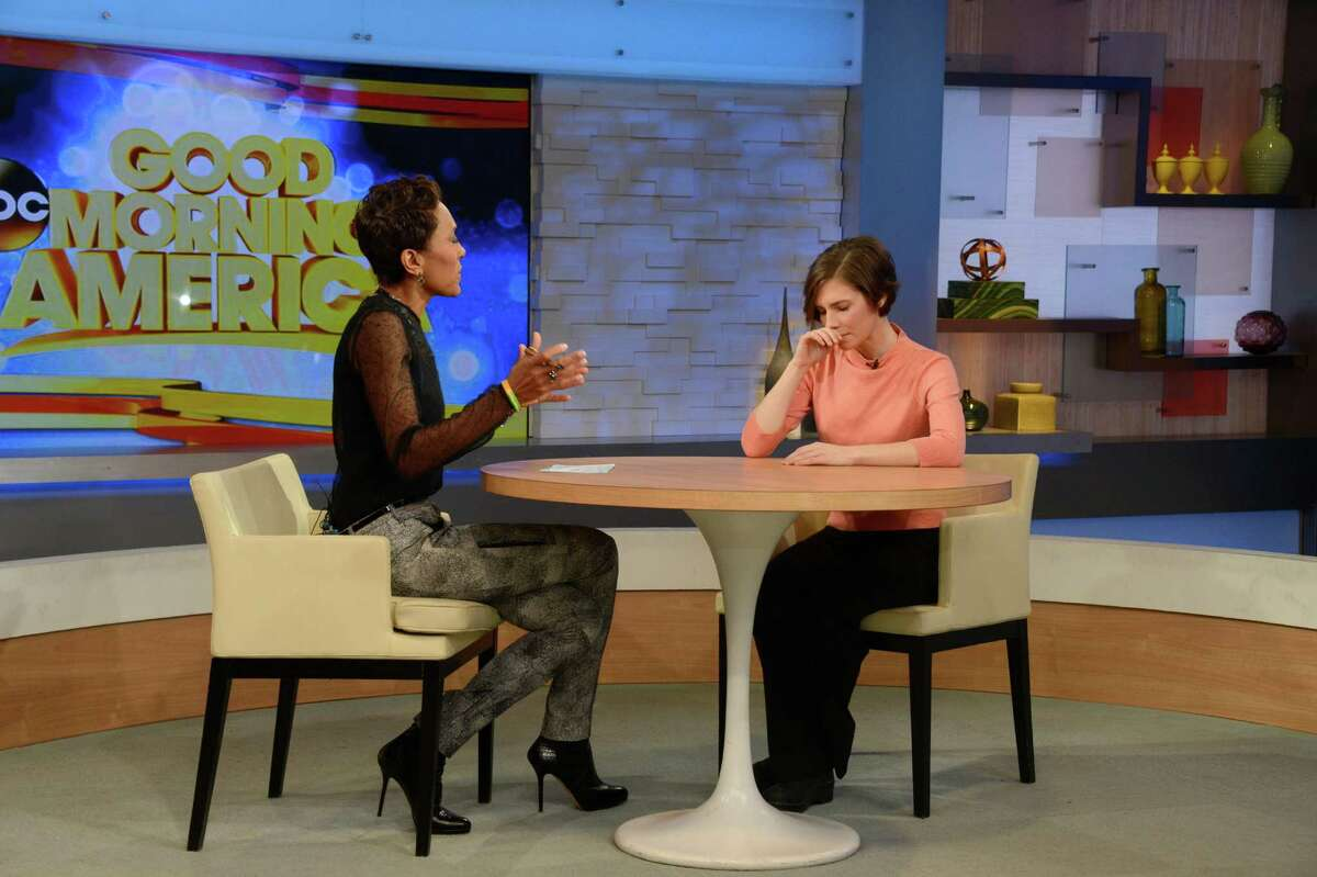 During an exclusive interview with Robin Roberts, Amanda Knox vowed to fight murder conviction, on GOOD MORNING AMERICA, 1/31/14, airing on the ABC Television Network. (Photo by Ida Mae Astute/ABC via Getty Images)
