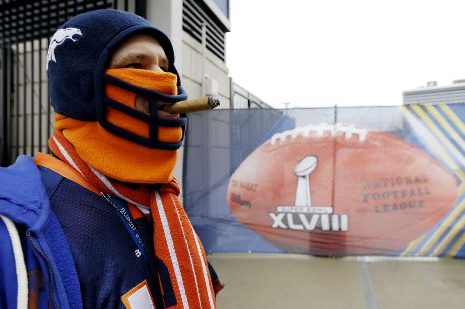 Denver Broncos fan Steve Richards of Minneapolis arrives at MetLife Stadium before the NFL Super Bowl XLVIII football game against the Seattle Seahawks Sunday, Feb. 2, 2014, in East Rutherford, N.J. (AP Photo/Ben Margot) Photo: Ben Margot, AP