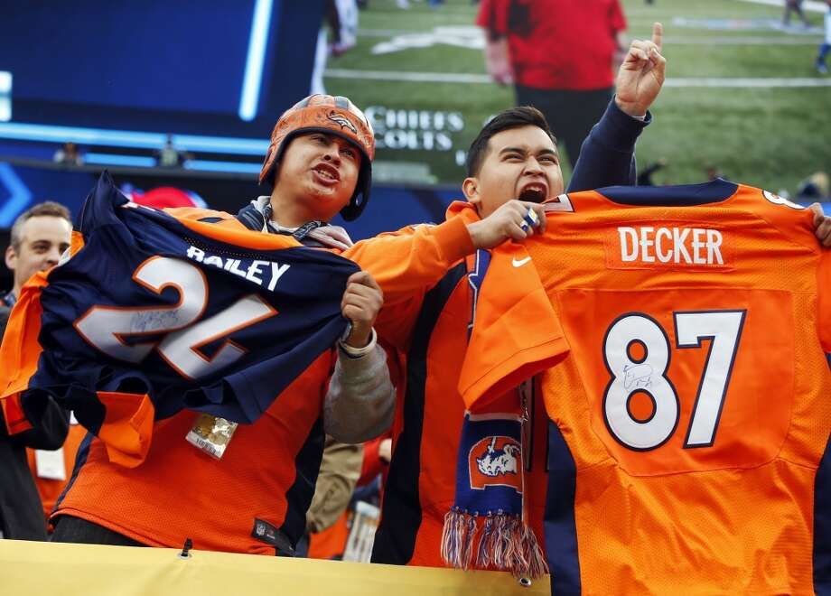 Broncos fans show their support before the Super Bowl. Photo: Evan Vucci, Associated Press