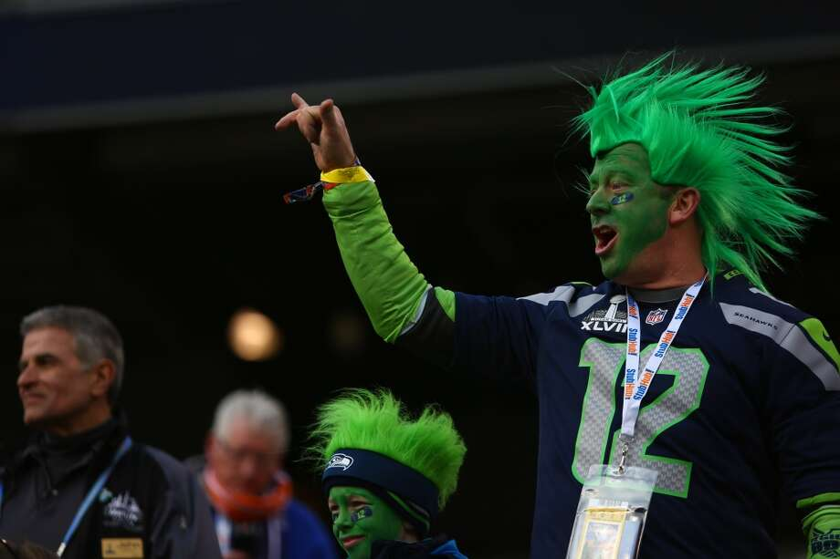 Seattle Seahawks fans cheer inside of MetLife Stadium for at Super Bowl XLVIII Sunday, Feb. 2, 2014, in New Jersey. (Joshua Trujillo, seattlepi.com) Photo: SEATTLEPI.COM