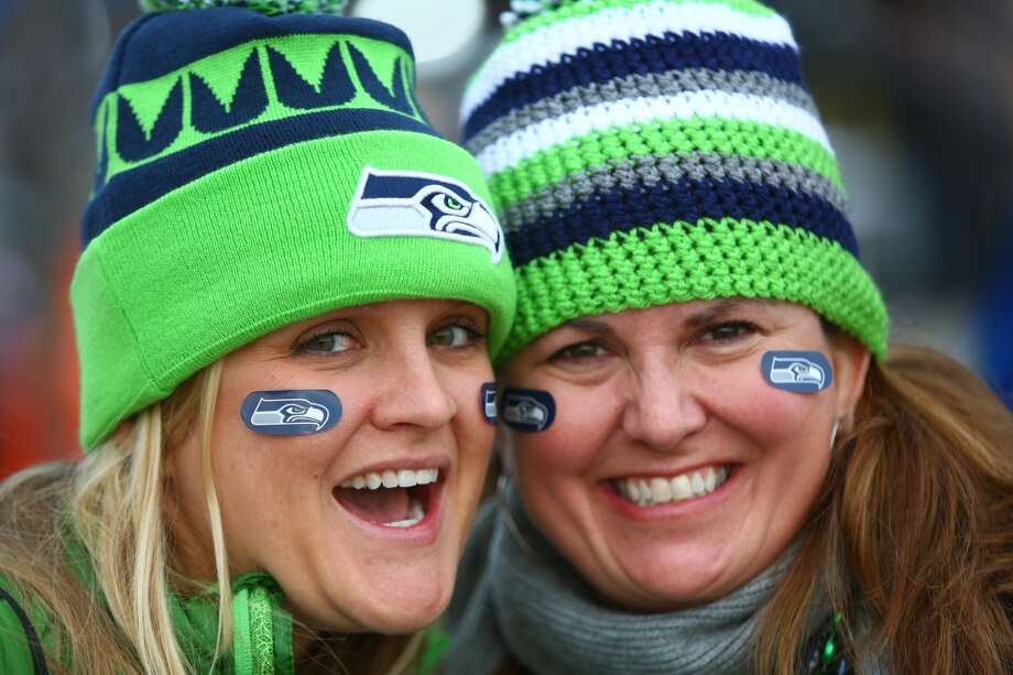 Seattle Seahawks fans Rachel Bon, left, and Cathy Mabee, of Seattle, outside of MetLife Stadium for at Super Bowl XLVIII Sunday, Feb. 2, 2014, in New Jersey. (Joshua Trujillo, seattlepi.com) Photo: SEATTLEPI.COM