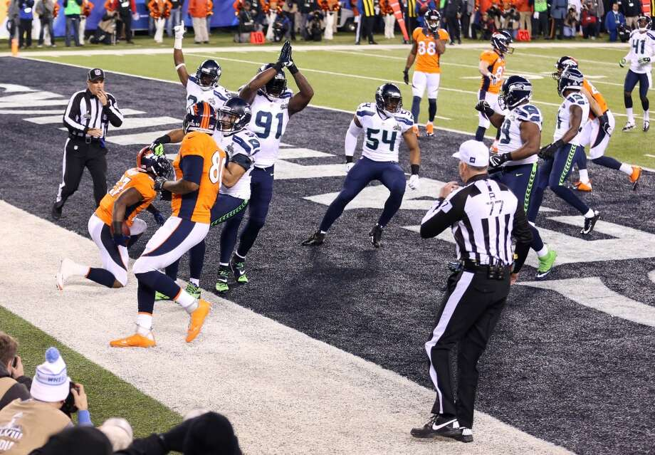 Denver Broncos running back Knowshon Moreno (27) recovers the ball in the end zone for a safety in Super Bowl XLVIII against the Seattle Seahawks in the first quarter at MetLife Stadium.  (Joe Camporeale-USA TODAY Sports) Photo: Joe Camporeale, Reuters