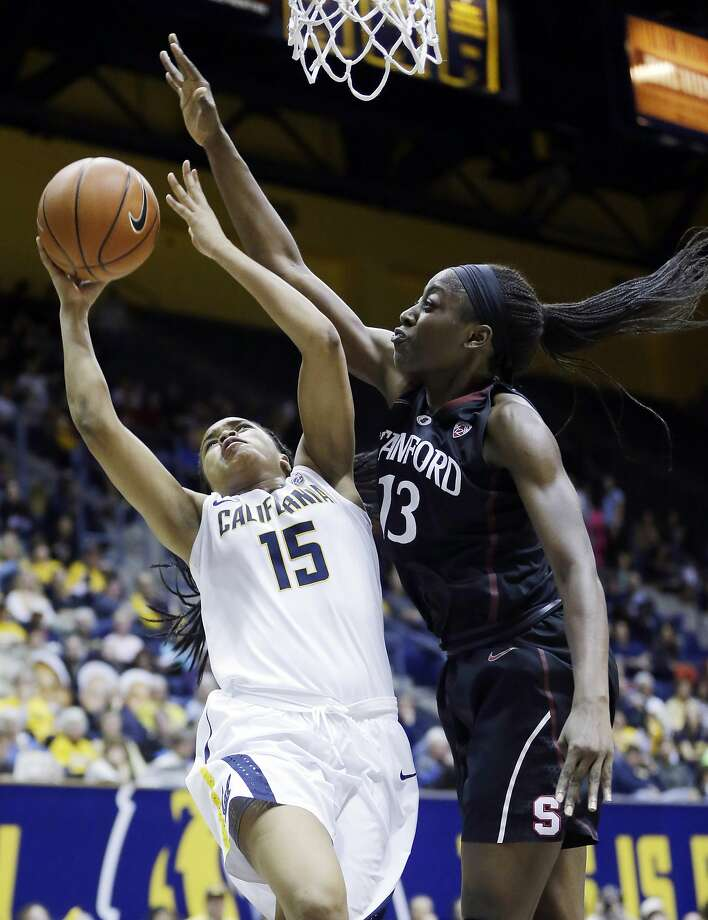 Chiney Ogwumike plays defense against Cal's Brittany Boyd in the second half. Ogwumike blocked three shots in the game. Photo: Marcio Jose Sanchez, Associated Press