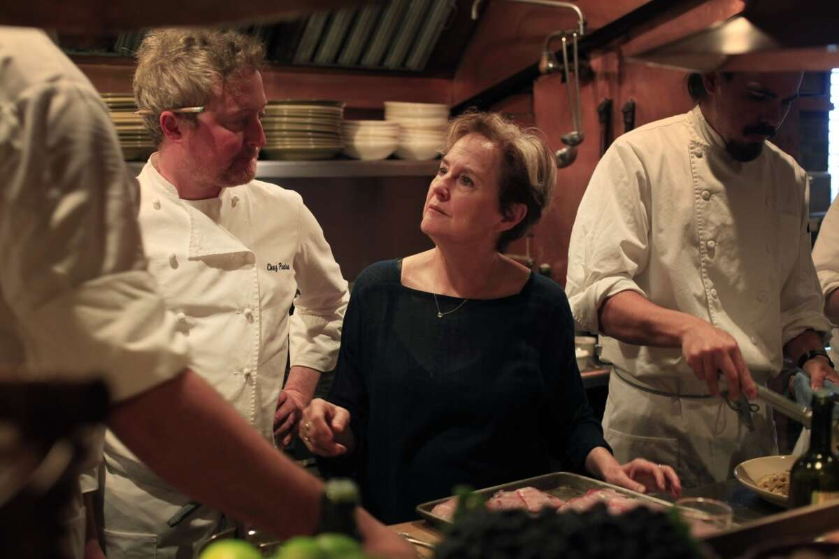With Chez Panisse Cafe Co-Chef Nathan Alderson by her side, Alice Waters in the kitchen.