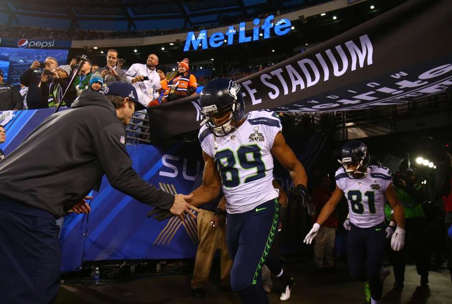 Doug Baldwin, left, and Golden Tate, right, of the Seattle Seahawks take the field at MetLife Stadium at Super Bowl XLVIII Sunday, Feb. 2, 2014, in New Jersey. (Joshua Trujillo, seattlepi.com) Photo: JOSHUA TRUJILLO, SEATTLEPI.COM