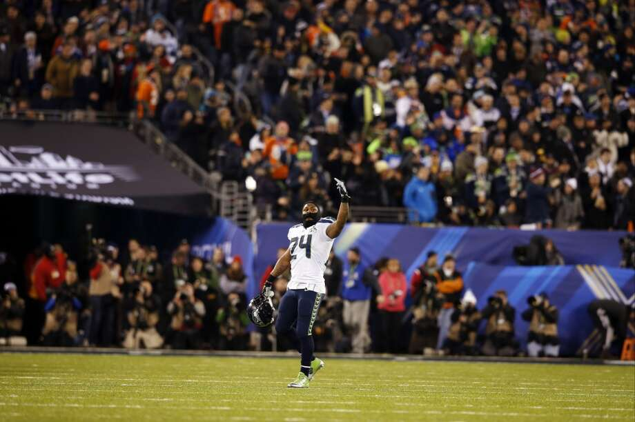 Seattle Seahawks' Marshawn Lynch (24) celebrates during the second half of the NFL Super Bowl XLVIII football game against the Denver Broncos, Sunday, Feb. 2, 2014, in East Rutherford, N.J. (AP Photo/Evan Vucci) Photo: Evan Vucci, Associated Press