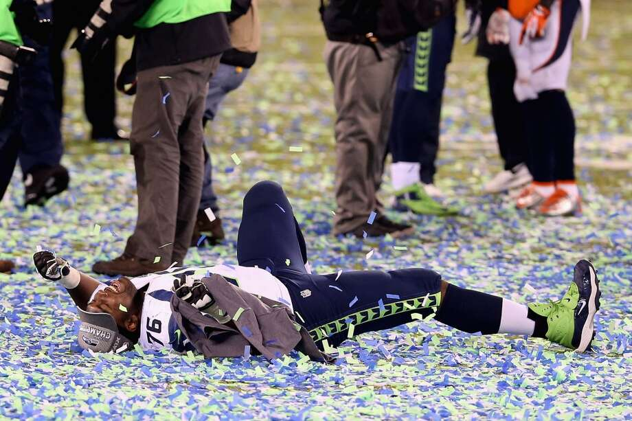 Tackle Russell Okung #76 of the Seattle Seahawks celebrates after winning Super Bowl XLVIII at MetLife Stadium on February 2, 2014 in East Rutherford, New Jersey.The Seahawks beat the Broncos 43-8.   (Photo by Christian Petersen/Getty Images) Photo: Christian Petersen, Getty Images