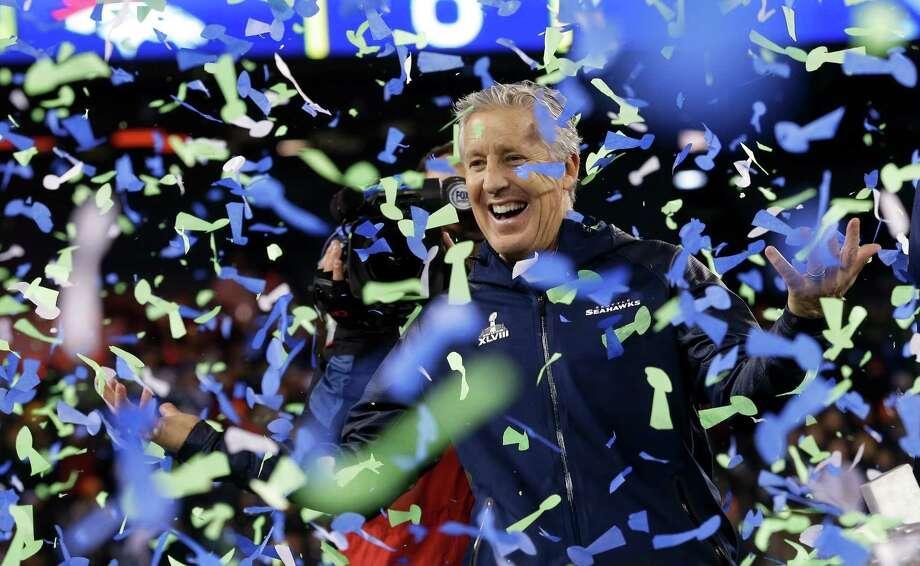 Seattle Seahawks head coach Pete Carroll celebrates after the NFL Super Bowl XLVIII football game against the Denver Broncos Sunday, Feb. 2, 2014, in East Rutherford, N.J. The Seahawks won 43-8. Photo: Ted S. Warren, AP / AP