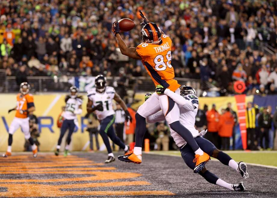 Wide receiver Demaryius Thomas #88 of the Broncos scores a touchdown. Photo: Jeff Gross, Getty Images