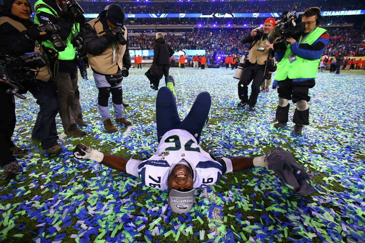 Seahawks player Russell Okung celebrates as the game ends during the Super Bowl on Sunday, February 2, 2014 at MetLife Stadium in New Jersey.