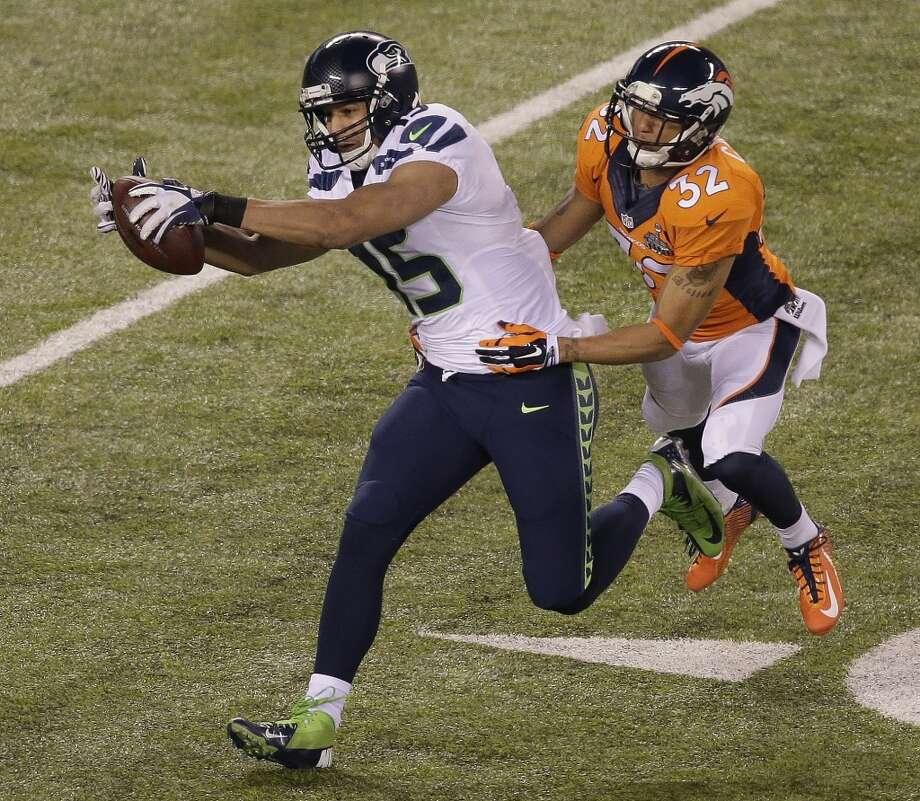 """Wide receiver Jermaine Kearse""""The feeling is surreal right now. It's an amazing feeling, especially being from the state of Washington, to bring this championship home to Seattle for the fans. It's an amazing feeling."""" Photo: Charlie Riedel, ASSOCIATED PRESS"""