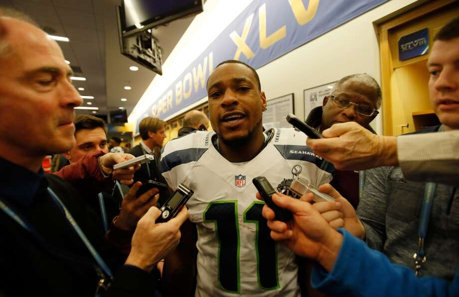 """Wide receiver Percy Harvin""""It's just a big horse off my back. I finally was able to give my team something for four quarters. That meant a lot to me. Being injured all season, it took a toll on me. Being able to finish and being able to give my teammates something back, because I leaned on those guys so much this year to keep me in spirits and just keep me going, it meant the world to me."""" Photo: Kevin C. Cox, Getty Images"""