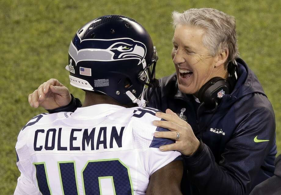 "Fullback Derrick Coleman""Let me repeat it: I am a Super Bowl champion. We are Super Bowl champions. It feels really good. We all came out there and did what we do best. We didn't try to make stuff up. We just did what we have done for the last 22 or 23 games, and it feels good."" Photo: Charlie Riedel, ASSOCIATED PRESS"
