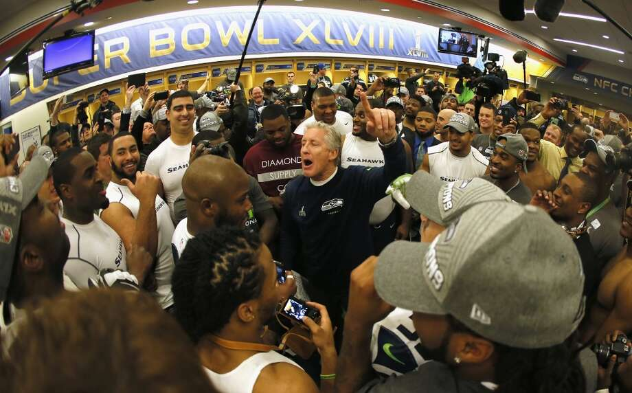 Head coach Pete Carroll of the Seattle Seahawks gives his team a speech in the locker room after the Seahawks 43-8 victory during Super Bowl XLVIII at MetLife Stadium on February 2, 2014 in East Rutherford, New Jersey.  (Photo by Kevin C. Cox/Getty Images) Photo: Kevin C. Cox, Getty Images
