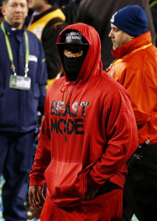 Running back Marshawn Lynch #24 of the Seattle Seahawks  walks on field after Super Bowl XLVIII at MetLife Stadium on February 2, 2014 in East Rutherford, New Jersey. The Seahawks beat the Broncos 43-8.  (Photo by Tom Pennington/Getty Images) Photo: Tom Pennington, Getty Images