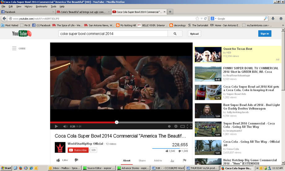 "Screengrabs from Coca-Cola's Super Bowl 2014 ad. ""America the Beautiful"" is sung in several languages and the ad features people of various cultures and ethnicities. It has sparked several racist comments on social media. Photo: Screengrabs"