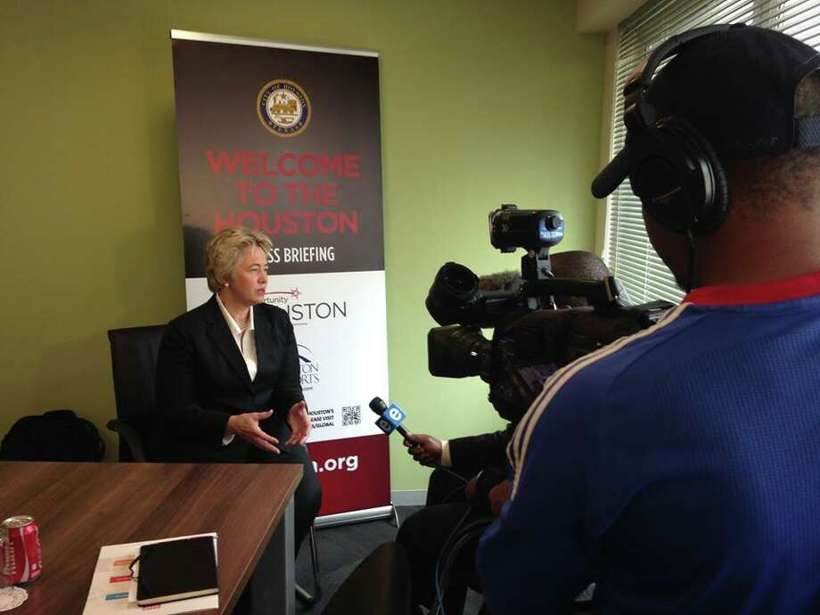 Mayor Annise Parker talking with South African media about how Houston has much to offer the world. Photo: MayorAnniseParker/Facebook