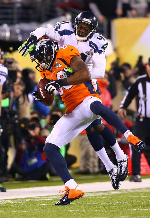 Seattle's Byron Maxwell is all over Denver's Demayrius Thomas in a play in the third quarter at Super Bowl XLVIII Sunday, Feb. 2, 2014, at MetLife Stadium in New Jersey. (Joshua Trujillo, seattlepi.com) Photo: SEATTLEPI.COM