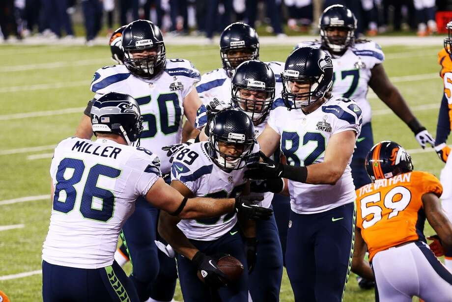 Wide receiver Doug Baldwin #89 of the Seattle Seahawks  celebrates his touchdown during the fourth quarter of Super Bowl XLVIII at MetLife Stadium on February 2, 2014 in East Rutherford, New Jersey.  (Photo by Christian Petersen/Getty Images) Photo: Christian Petersen, Getty Images