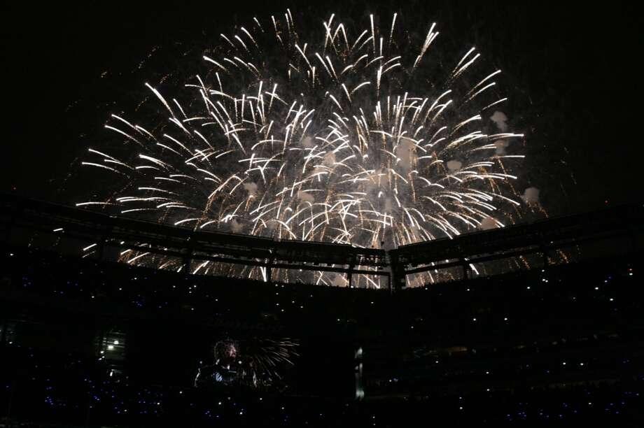 Fireworks light up the halftime show at Super Bowl XLVIII Sunday, Feb. 2, 2014, at MetLife Stadium in New Jersey. (Jordan Stead, seattlepi.com) Photo: JORDAN STEAD, SEATTLEPI.COM