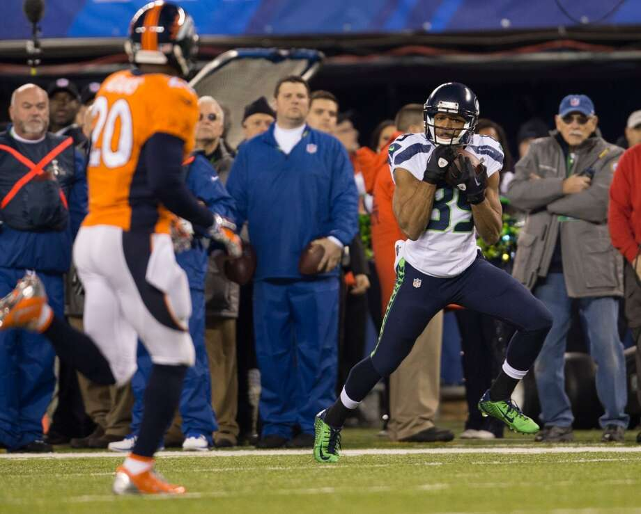 Seattle's Doug Baldwin hauls in a pass during Super Bowl XLVIII Sunday, Feb. 2, 2014, at MetLife Stadium in New Jersey. (Jordan Stead, seattlepi.com) Photo: JORDAN STEAD, SEATTLEPI.COM