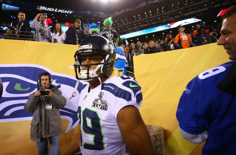 Doug Baldwin, of the Seattle Seahawks takes the field at MetLife Stadium for at Super Bowl XLVIII Sunday, Feb. 2, 2014, in New Jersey. (Joshua Trujillo, seattlepi.com) Photo: JOSHUA TRUJILLO, SEATTLEPI.COM