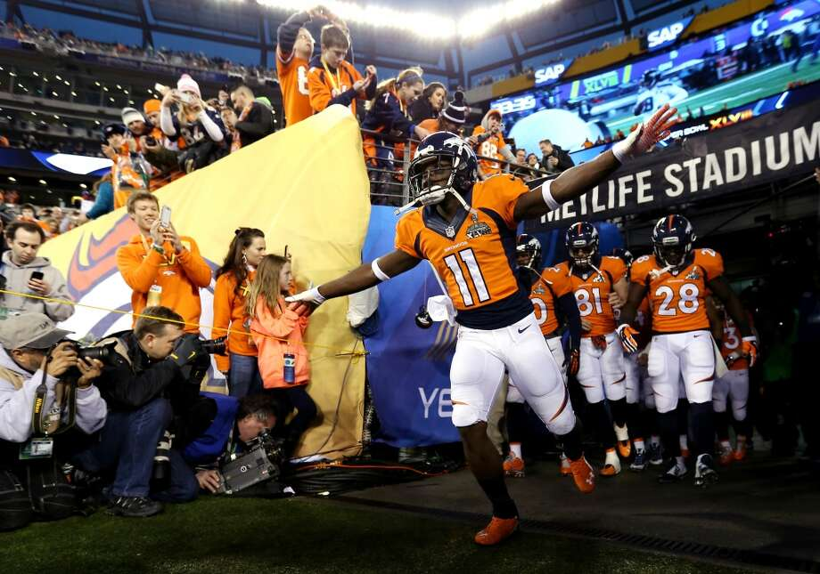 Wide receiver Trindon Holliday #11 of the Denver Broncos and teammates take the field prior to the start of Super Bowl XLVIII against the Seattle Seahawks at MetLife Stadium on February 2, 2014 in East Rutherford, New Jersey.  (Photo by Jeff Gross/Getty Images) Photo: Jeff Gross, Getty Images