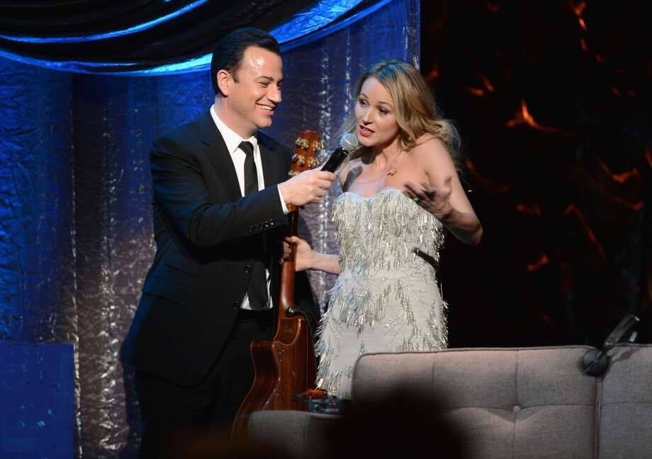 "Jimmy Kimmel and Jewel speak onstage at ""Howard Stern's Birthday Bash"" presented by SiriusXM, produced by Howard Stern Productions at Hammerstein Ballroom on January 31, 2014 in New York City. Photo: Theo Wargo, Getty Images For SiriusXM"