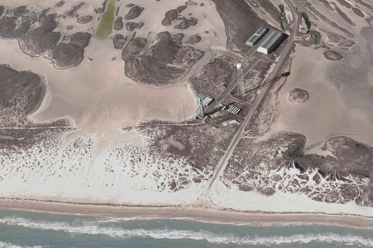 This artist rendering shows the proposed spaceport at Boca Chica Beach in Cameron County, Texas, near Brownsville. (SpaceX)