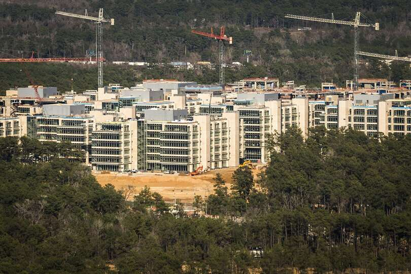 May 2013: The new Exxon Mobil corporate campus under construction near The Woodlands is seen rising