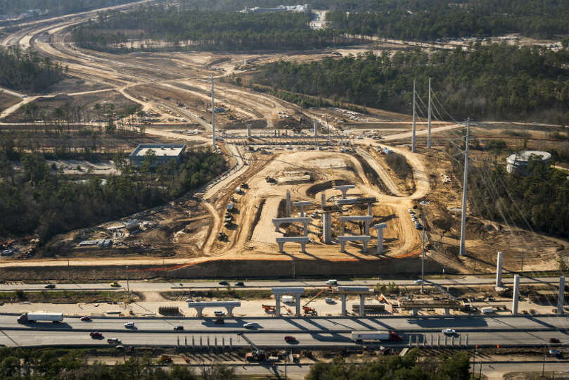 May 2013: Construction on the interchange of the Grand Parkway and I-45 just south of the new Exxon