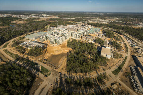 May 2013: The new Exxon Mobil corporate campus under construction near The Woodlands is seen on Thursday, May 23, 2013. The new development is near Interstate 45 and the Hardy Toll Road. In total, the complex will house 10,000 people when it opens in 2015.