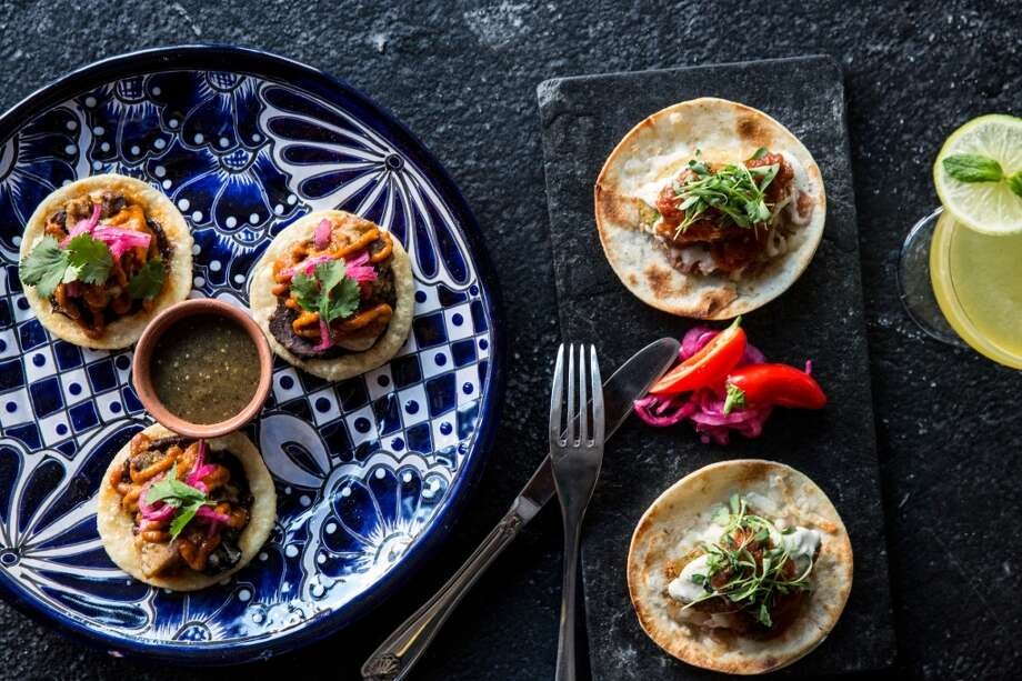 Oyster sopes and panko-encrusted avocado tacos. Photo: Aubrie Pick Photography