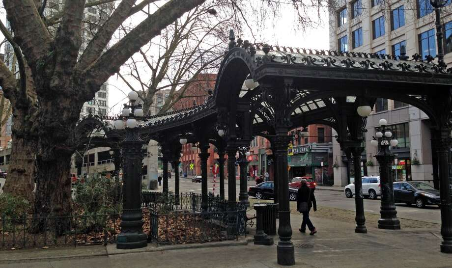 Seahawks fans celebrating the Super Bowl victory caused an estimated $25,000 damage to a century-old ornate glass archway called the Pergola in Seattle's Pioneer Square, the Associated Press reported. (Photo by Jake Ellison/Seattlepi.com)
