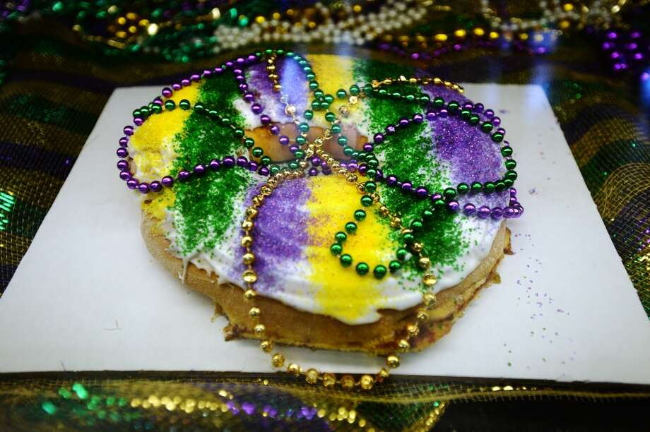 Pictured is one of the king cakes available at Daviss Donuts and Deli on Tuesday morning. Daviss Donuts and Deli in Nederland is the CAT5 Restaurant of the Week for January 30, 2014. Photo taken Tuesday, 1/21/14 Jake Daniels/@JakeD_in_SETX