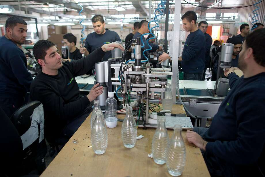 Palestinians work at a SodaStream factory near the settlement of Maale Adumim. SodaStream manufactures a device for making carbonated drinks. Photo: Menahem Kahana, AFP/Getty Images